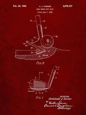 PP859-Burgundy Golf Sand Wedge Patent Poster by Cole Borders