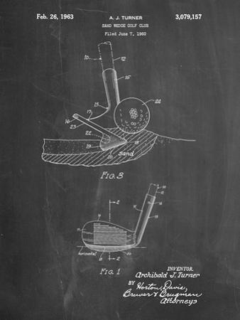 PP859-Chalkboard Golf Sand Wedge Patent Poster by Cole Borders