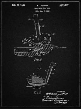 PP859-Vintage Black Golf Sand Wedge Patent Poster by Cole Borders