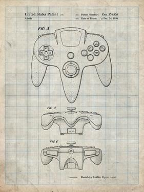 PP86-Antique Grid Parchment Nintendo 64 Controller Patent Poster by Cole Borders