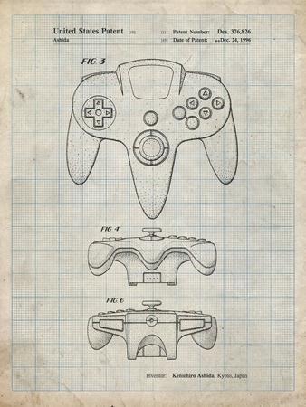 PP86-Antique Grid Parchment Nintendo 64 Controller Patent Poster