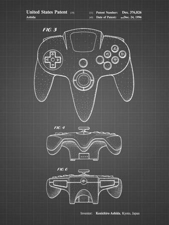 PP86-Black Grid Nintendo 64 Controller Patent Poster
