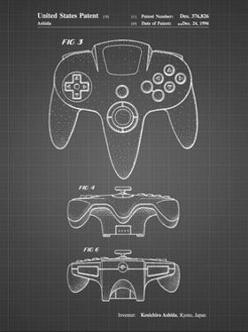 PP86-Black Grid Nintendo 64 Controller Patent Poster by Cole Borders