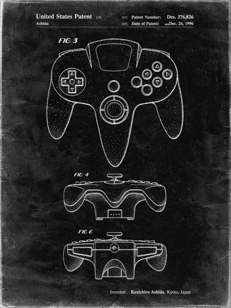 PP86-Black Grunge Nintendo 64 Controller Patent Poster