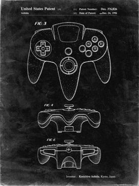 PP86-Black Grunge Nintendo 64 Controller Patent Poster by Cole Borders