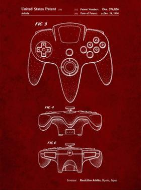 PP86-Burgundy Nintendo 64 Controller Patent Poster by Cole Borders