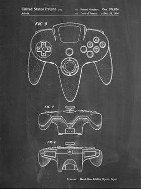 PP86-Chalkboard Nintendo 64 Controller Patent Poster by Cole Borders