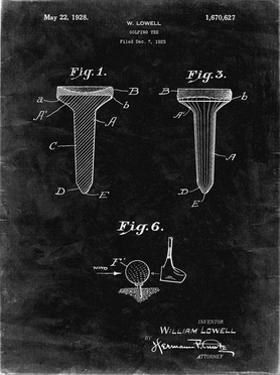 PP860-Black Grunge Golf Tee Patent Poster by Cole Borders