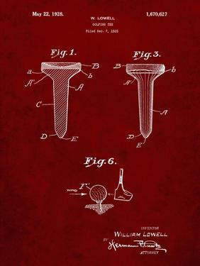 PP860-Burgundy Golf Tee Patent Poster by Cole Borders