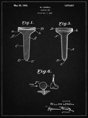 PP860-Vintage Black Golf Tee Patent Poster by Cole Borders