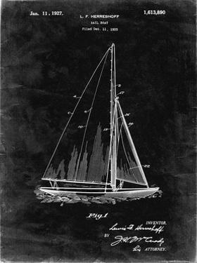 PP878-Black Grunge Herreshoff R 40' Gamecock Racing Sailboat Patent Poster by Cole Borders