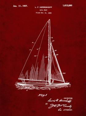 PP878-Burgundy Herreshoff R 40' Gamecock Racing Sailboat Patent Poster by Cole Borders