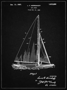 PP878-Vintage Black Herreshoff R 40' Gamecock Racing Sailboat Patent Poster by Cole Borders
