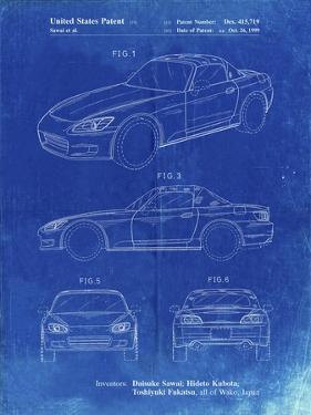 PP882-Faded Blueprint Honda S2000 Patent Poster by Cole Borders