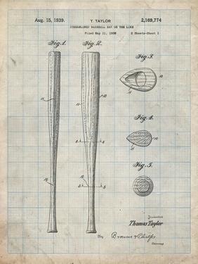 PP89-Antique Grid Parchment Vintage Baseball Bat 1939 Patent Poster by Cole Borders