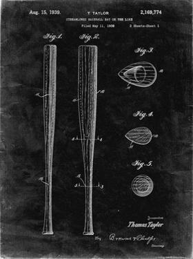 PP89-Black Grunge Vintage Baseball Bat 1939 Patent Poster by Cole Borders