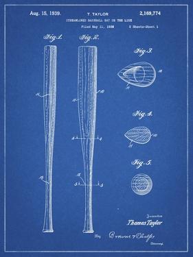 PP89-Blueprint Vintage Baseball Bat 1939 Patent Poster by Cole Borders