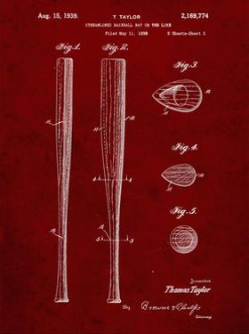 PP89-Burgundy Vintage Baseball Bat 1939 Patent Poster by Cole Borders