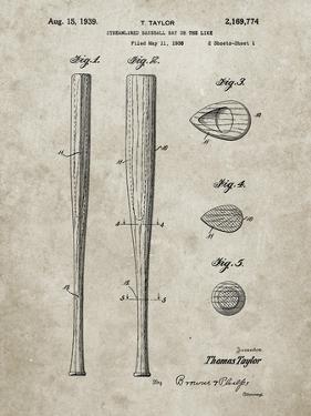 PP89-Sandstone Vintage Baseball Bat 1939 Patent Poster by Cole Borders