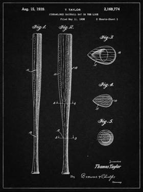 PP89-Vintage Black Vintage Baseball Bat 1939 Patent Poster by Cole Borders