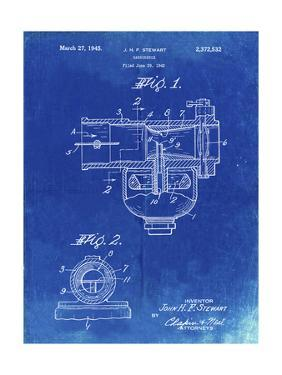 PP891-Faded Blueprint Indian Motorcycle Carburetor Patent Poster by Cole Borders
