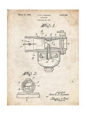 PP891-Vintage Parchment Indian Motorcycle Carburetor Patent Poster by Cole Borders