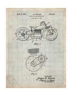 PP892-Antique Grid Parchment Indian Motorcycle Drive Shaft Patent Poster by Cole Borders