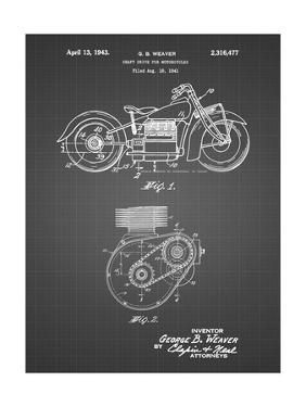 PP892-Black Grid Indian Motorcycle Drive Shaft Patent Poster by Cole Borders