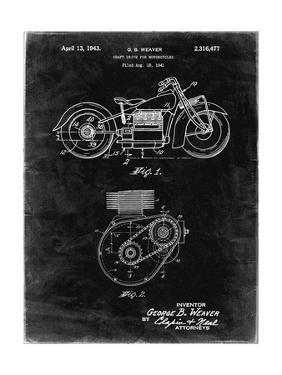 PP892-Black Grunge Indian Motorcycle Drive Shaft Patent Poster by Cole Borders
