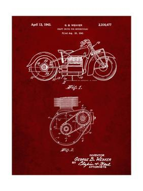 PP892-Burgundy Indian Motorcycle Drive Shaft Patent Poster by Cole Borders