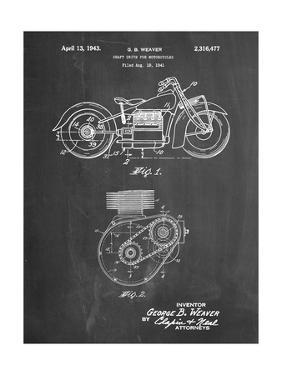 PP892-Chalkboard Indian Motorcycle Drive Shaft Patent Poster by Cole Borders