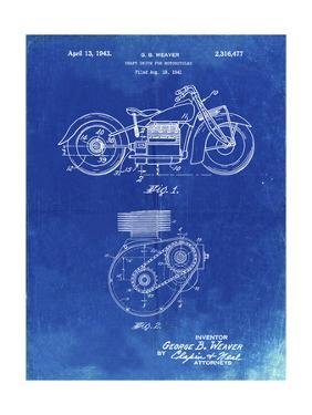 PP892-Faded Blueprint Indian Motorcycle Drive Shaft Patent Poster by Cole Borders
