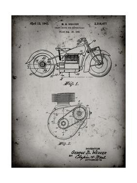 PP892-Faded Grey Indian Motorcycle Drive Shaft Patent Poster by Cole Borders