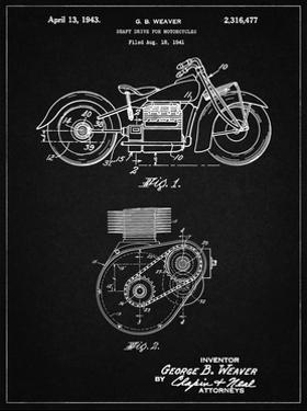 PP892-Vintage Black Indian Motorcycle Drive Shaft Patent Poster by Cole Borders