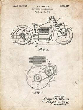 PP892-Vintage Parchment Indian Motorcycle Drive Shaft Patent Poster by Cole Borders