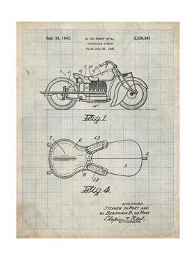 PP893-Antique Grid Parchment Indian Motorcycle Saddle Patent Poster by Cole Borders