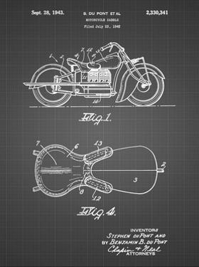 PP893-Black Grid Indian Motorcycle Saddle Patent Poster by Cole Borders