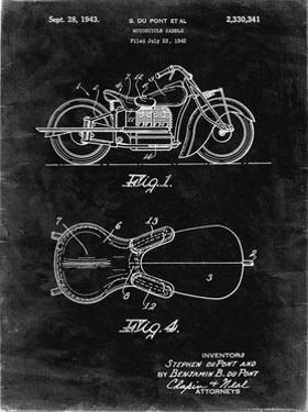 PP893-Black Grunge Indian Motorcycle Saddle Patent Poster by Cole Borders