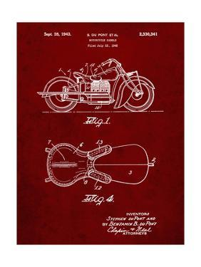 PP893-Burgundy Indian Motorcycle Saddle Patent Poster by Cole Borders