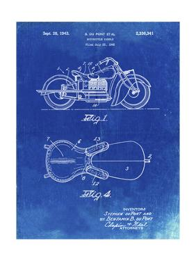 PP893-Faded Blueprint Indian Motorcycle Saddle Patent Poster by Cole Borders