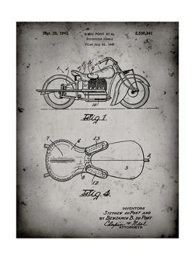 PP893-Faded Grey Indian Motorcycle Saddle Patent Poster by Cole Borders