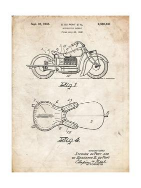 PP893-Vintage Parchment Indian Motorcycle Saddle Patent Poster by Cole Borders