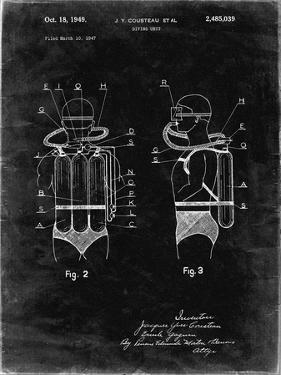 PP897-Black Grunge Jacques Cousteau Diving Suit Patent Poster by Cole Borders