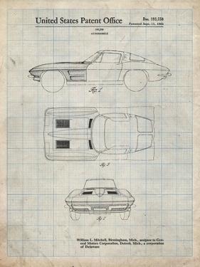 PP90-Antique Grid Parchment 1962 Corvette Stingray Patent Poster by Cole Borders