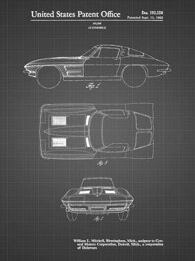 PP90-Black Grid 1962 Corvette Stingray Patent Poster by Cole Borders