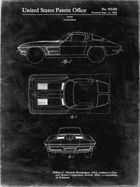 PP90-Black Grunge 1962 Corvette Stingray Patent Poster by Cole Borders