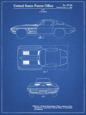 PP90-Blueprint 1962 Corvette Stingray Patent Poster by Cole Borders