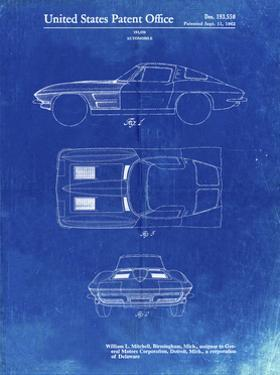 PP90-Faded Blueprint 1962 Corvette Stingray Patent Poster by Cole Borders