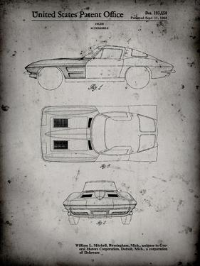 PP90-Faded Grey 1962 Corvette Stingray Patent Poster by Cole Borders