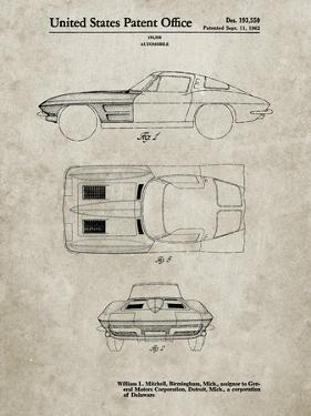 PP90-Sandstone 1962 Corvette Stingray Patent Poster by Cole Borders